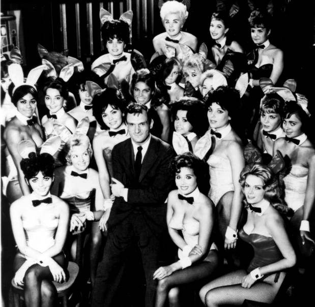 Hugh Hefner and Playboy Bunnies at opening of the first Playboy Club 1960