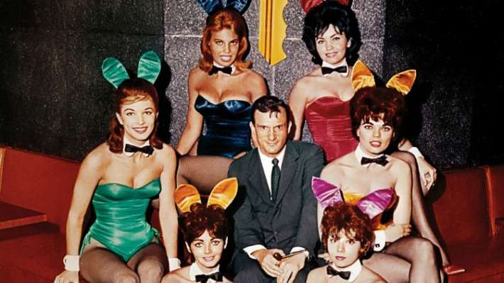 Hugh Hefner With Playboy Bunnies At Chicago Playboy Club 1960