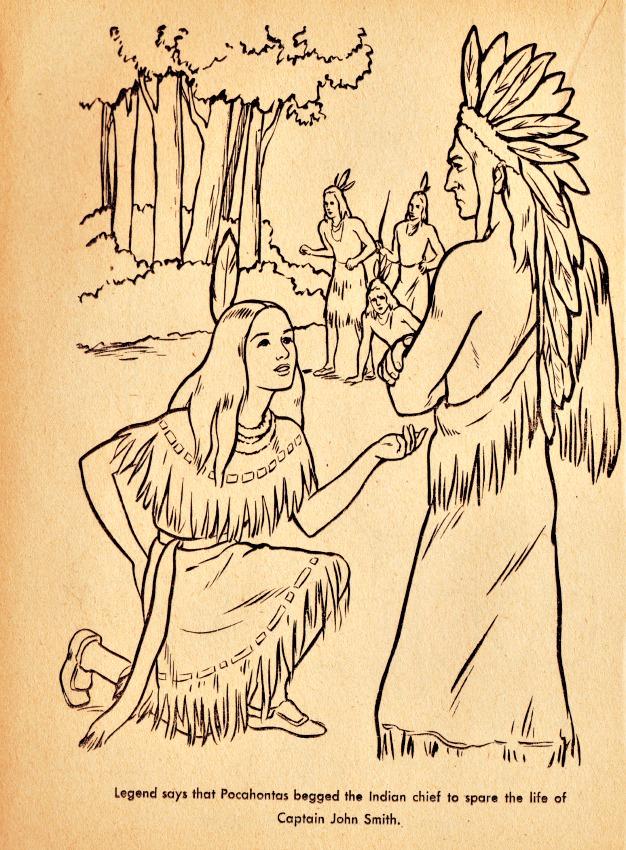 Vintage coloring book Pocahontas indians