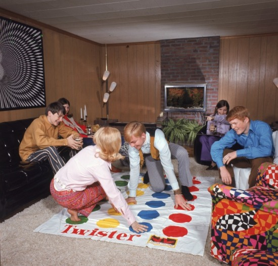 Teens playing Twister