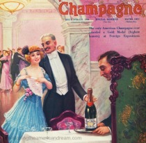 Vintage illustration 1915 New year Celebration Champagne