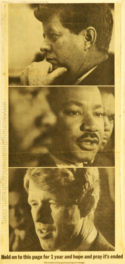 Anti Gun Advertisement newspaper 1969 John Kennedy Robert kennedy Martin Luther King