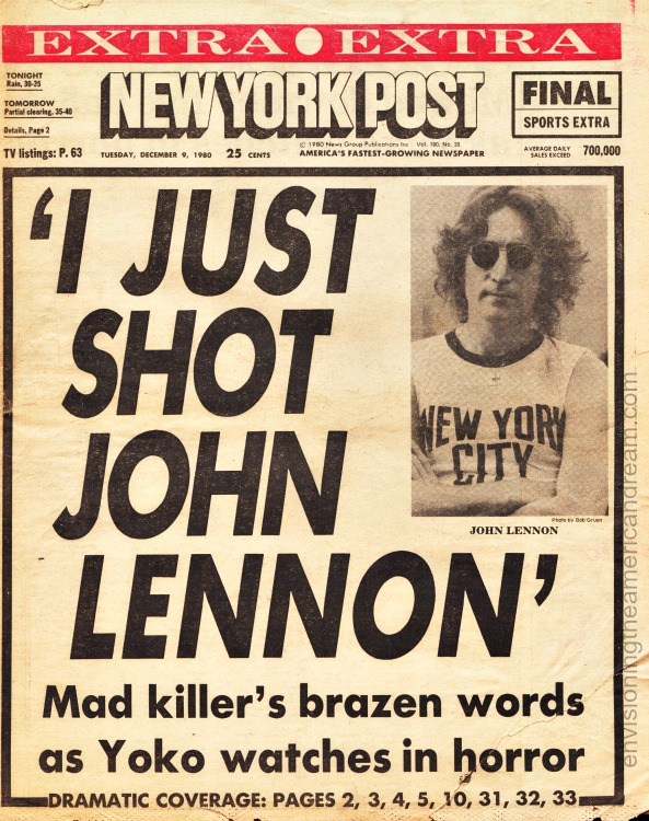 Newspaper Headline John Lennon Shot 1980