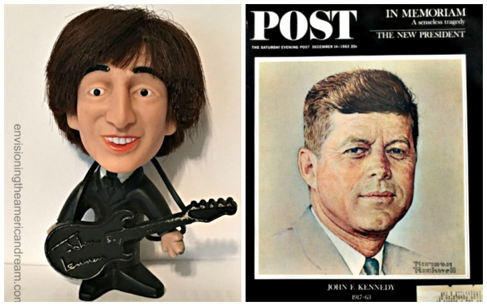 collage John Lennon Doll and Saturday Evening Post JFK memorial Norman Rockwell illustration