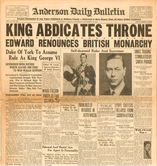 Newspaper Headline King Abdicates December 1936
