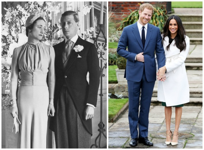 Duke and Duchess of Windsor on their Wedding day 1937 ; Prince Harry and Meghan Markle announce engagement 2017