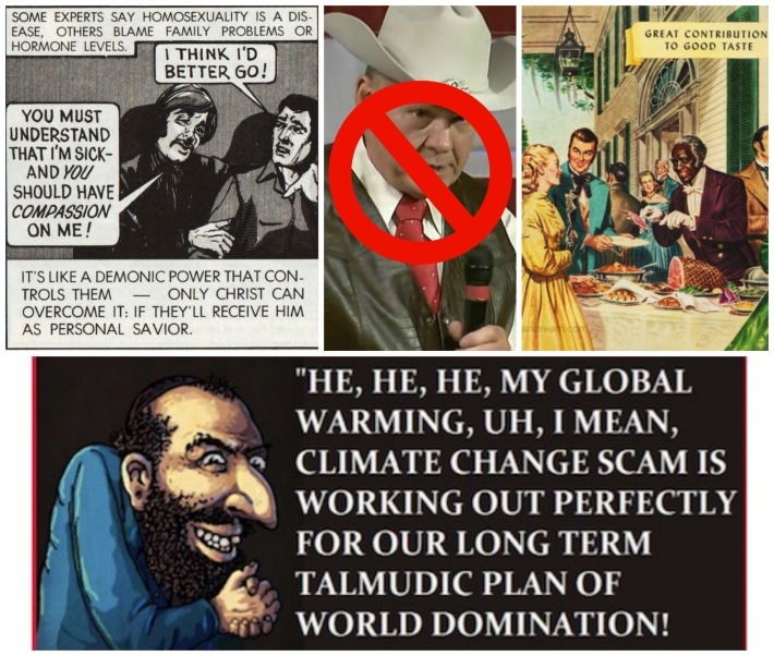 Roy Moore anti gay, anti semetic cartoons and old south illustration