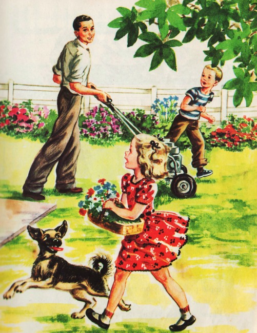 "Vintage childrens book illustration ""The Happy Family"""