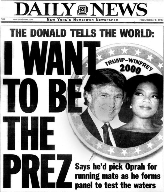 Headline NY Daily News October 1999 Donald Trump Wants Oprah For His Vice President in Presidential run