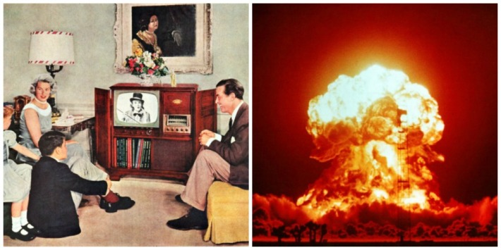 vintage family at home watching TV and nuclear blast