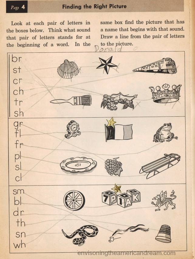 vintage school workbook 1950s illustrations