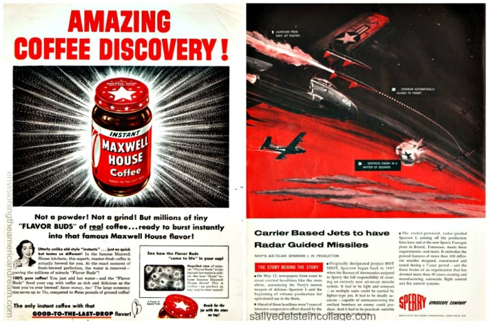 vintage ads 1950s Maxwell House Coffee and military illustration