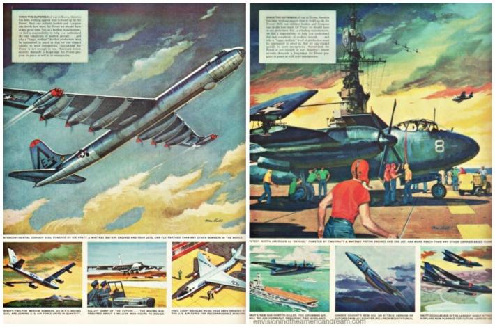 Vintage illustration fighter jets 1950s
