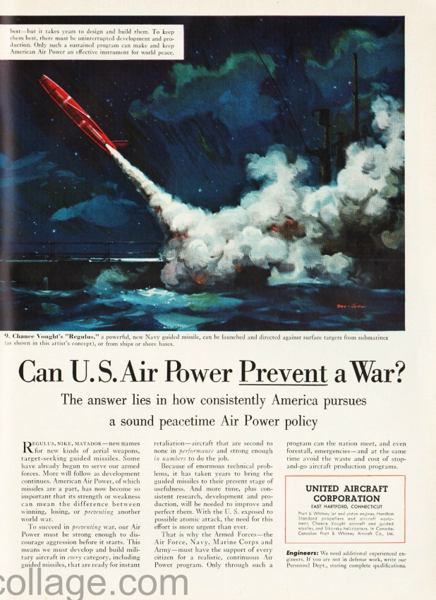 vintage ad Defense illustration Missile Regulus