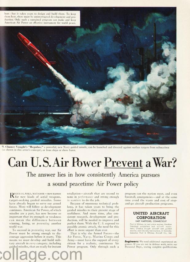 vintage ad Defense illustration Missile Regulus