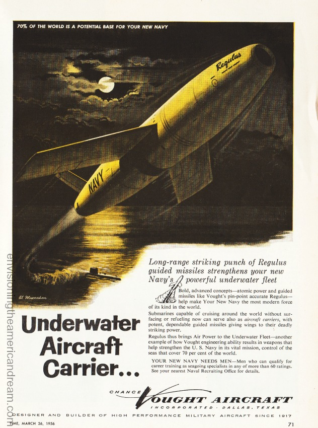 Vintage ad 1956 Chance Vought Aircraft illustration Missile