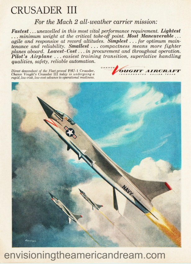 Vintage ad 1958 Chance Vought Aircraft illustration of fighter jet