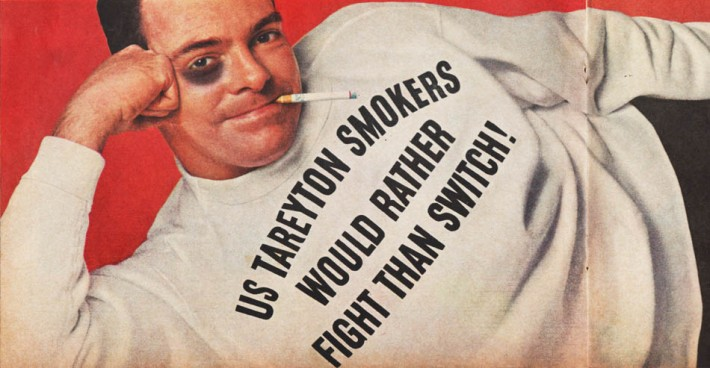 "Vintage tareyton Cigarette Ad ""Us Tareyton smokers would rather fight than switch"" 1960s"