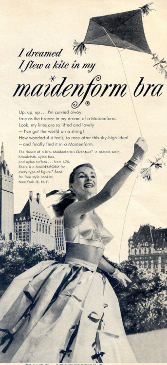 Vintage Ad Maidenform Bra Flying a kite