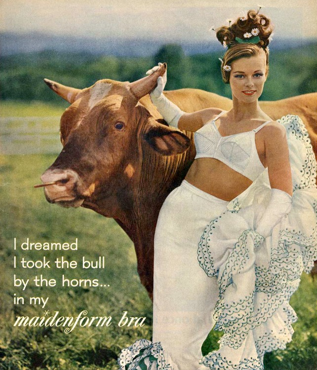 Vintage maidenform I Dreamed Ad Woman and Bull