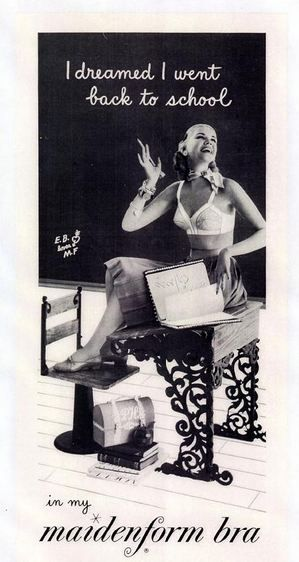 Vintage Ad Maidenform Bra I Dreamed School 1950s