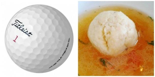 golf ball and matzo ball