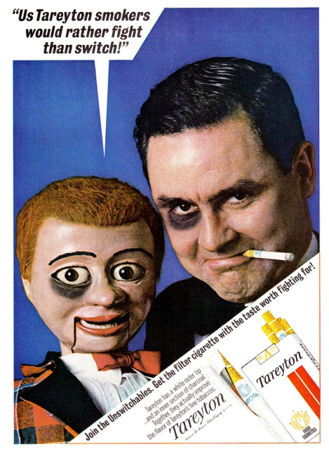 "Vintage Tareyton Cigarette Ad Man with Dummy"" Us Tareryton smokers would rather fight than switch"" sitch"