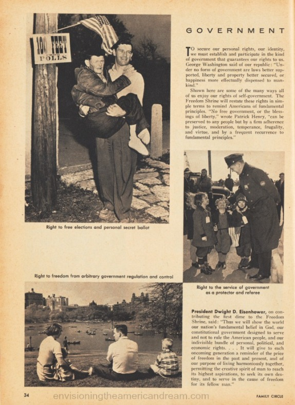 Article Freedom Foundation Credo Statements American Rights March 1956 Family Circle magazine