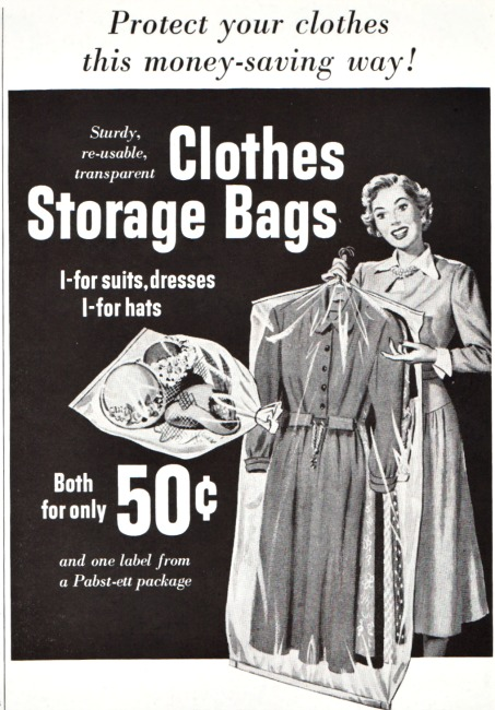 vintage illustration housewife holding plastic garment bags