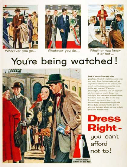 Vintage ad American Institute of Men's and Boy's Wear 1957 Fashion Illustration