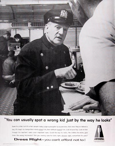 Vintage ad policeman sitting at lunch counter