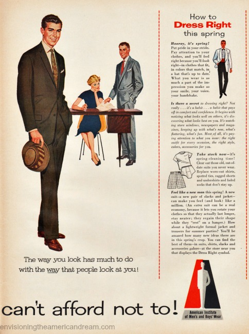 Vintage ad American Institute of Mens and Boys Wear 1957 illustration business man in office