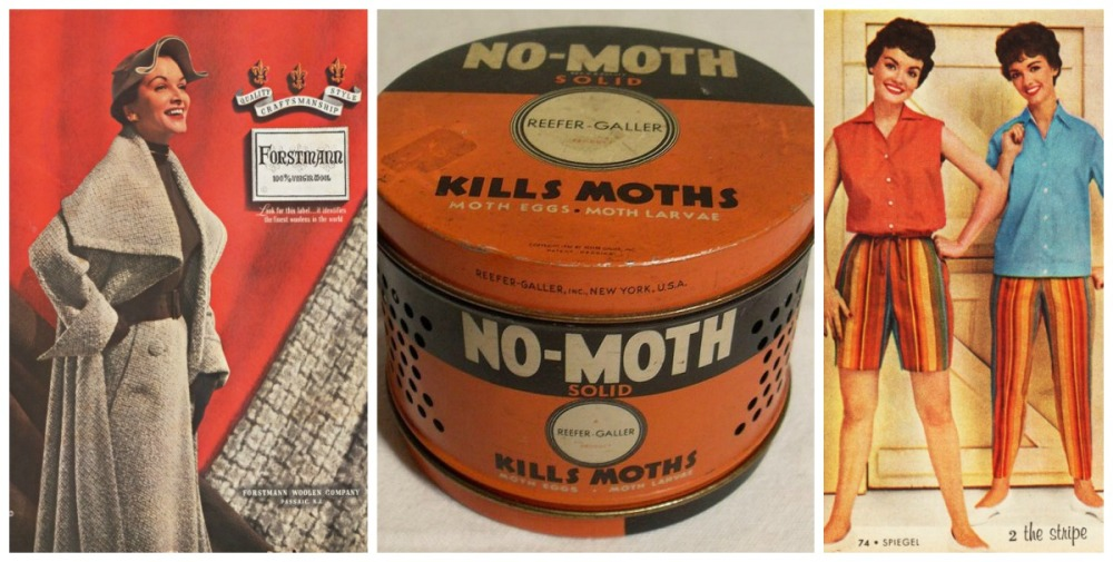 Vintage fashion and vintage No Moth solid metal canister