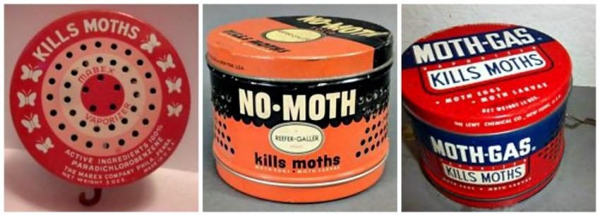 Vintage Moth crystal metal canisters