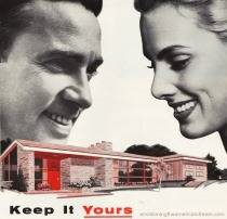 Vintage ad Suburban couple and house 1950s