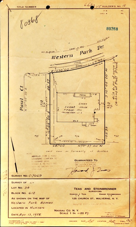 vintage Blueprint for suburban home 1955
