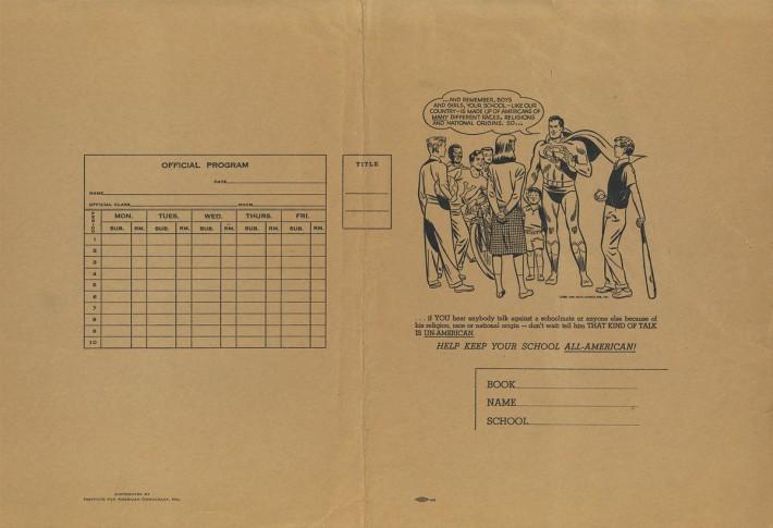 vintage school textbookj cover Superman