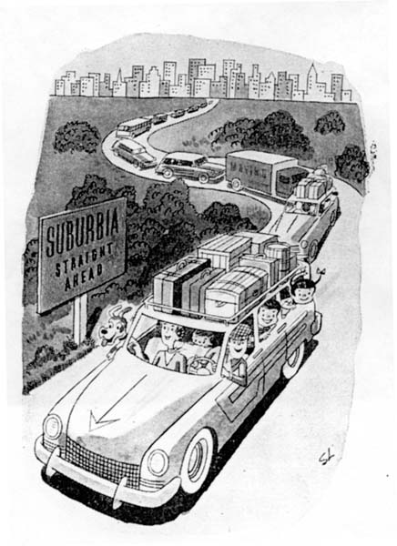Vintage 1950s cartoon suburbia Ahead