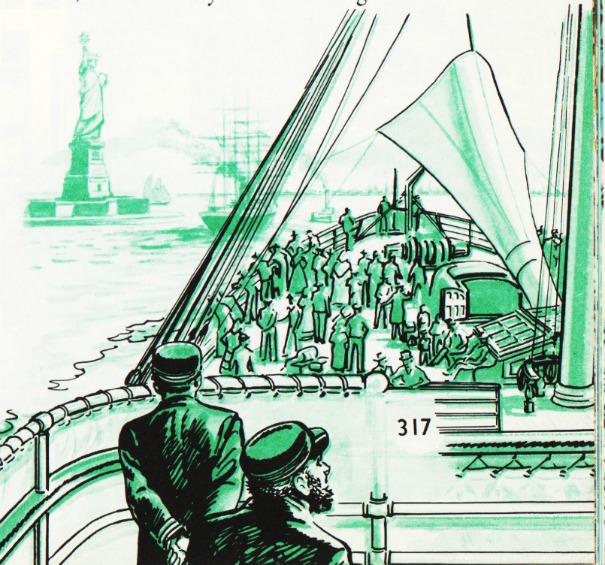 Vintage Illustration Immigrants Coming to America