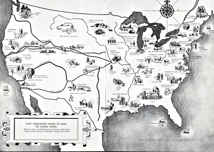 Vintage illustration World Book Encyclopedia 1954 Map of Immigrant contributions