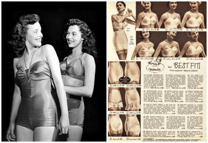 Vintage ad Maternity Girdles and Miss American contestants in swim suits
