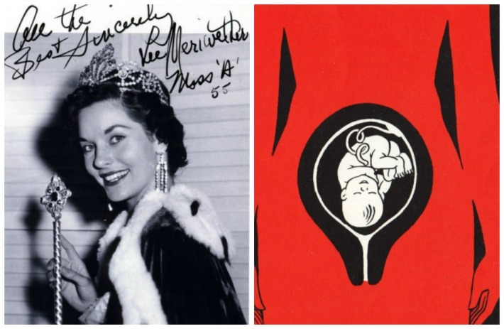 collage Miss America 1955 Lee Meriwether and illustration baby in womb