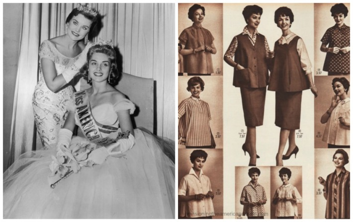 Miss America and women in maternity clothes 1950s
