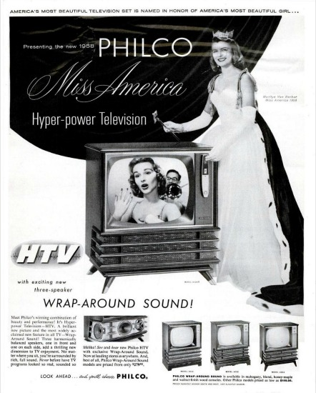 Vintage Ad for Philco TV featuring Miss America