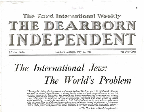 Henry Fords Dearborn Independent Anti Jewish headline
