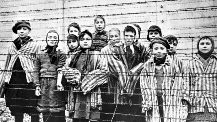 Holocaust children in a camp