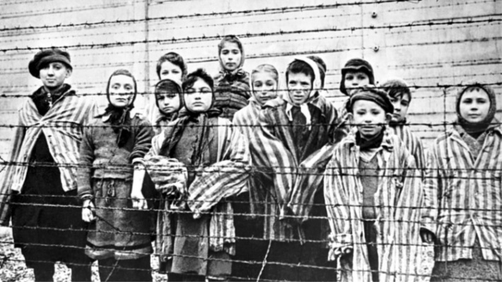 Holocaust children in a camp