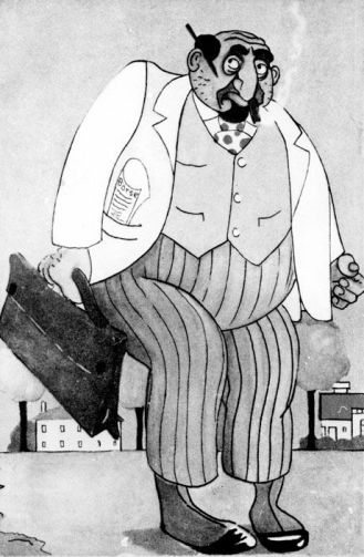 Stereotype caricature of a Capitalist Jew