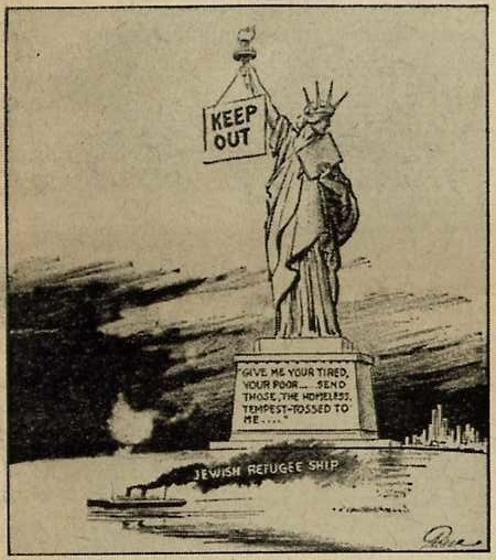 Vintage editorial cartoon Jewish Refugees not accepted