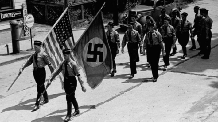 Vintage photo Nazi Youth marching in Long Island 1930s
